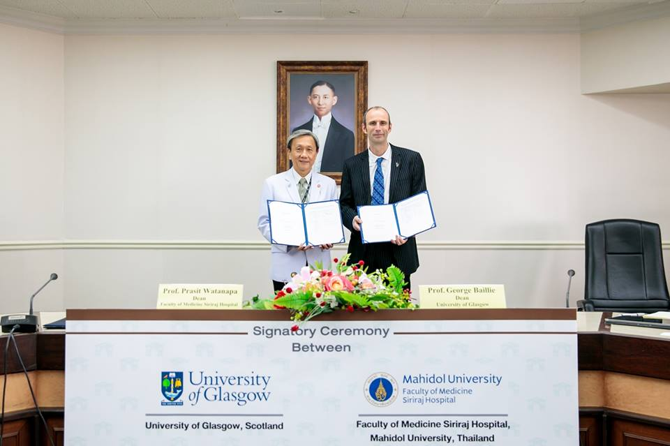 MOU Signatory Ceremony between University of Glasgow and Siriraj for Joint-PhD Program