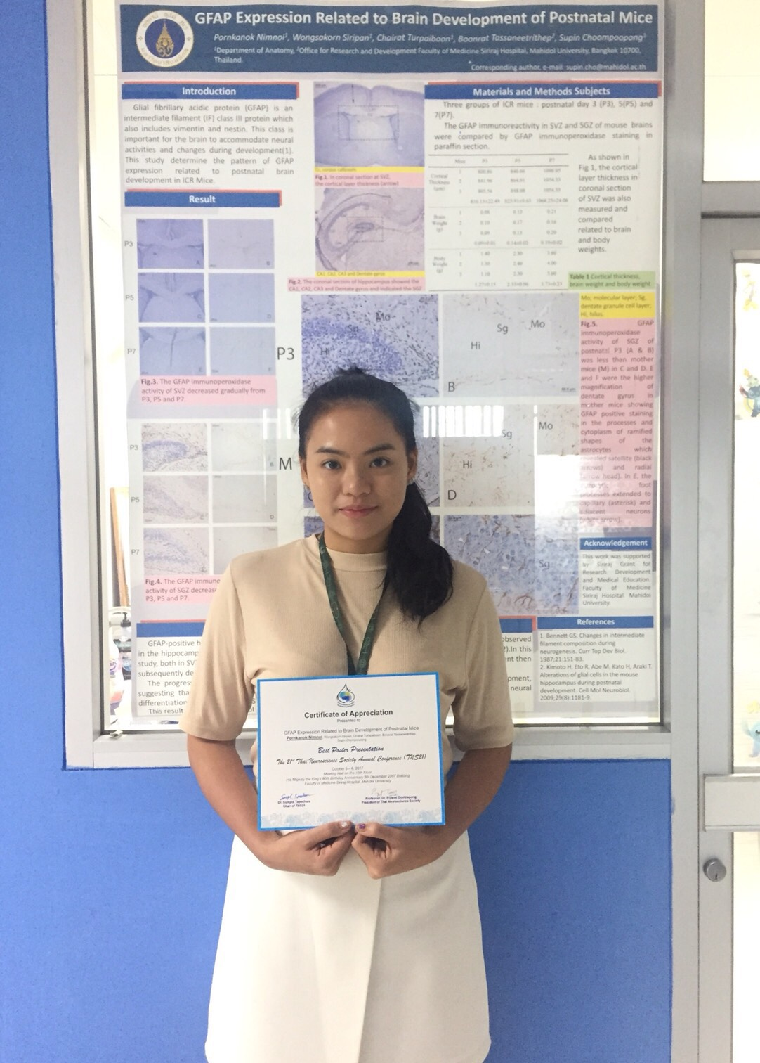 "Congratulations to Ms.Pornkanok Nimnoi, M.Sc. student in Anatomy, for her ""Best Poster Presentation Award"" at the TNS21"
