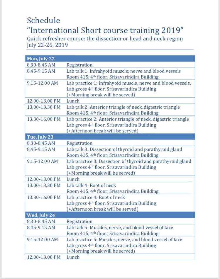"Schedule ""International Short Course Training 2019"""
