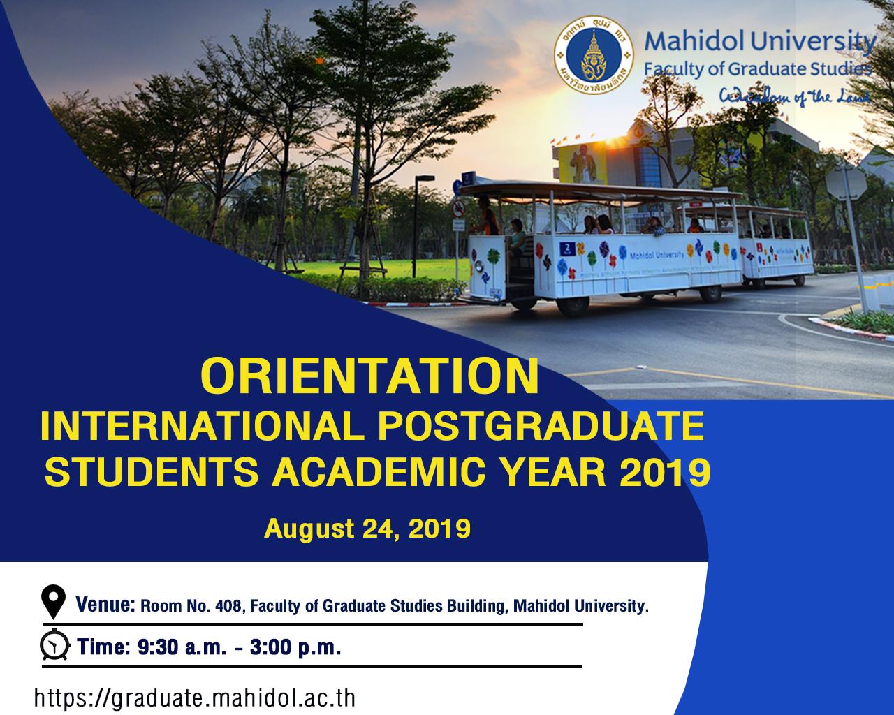 Orientation International Postgraduate Students Academic Year 2019