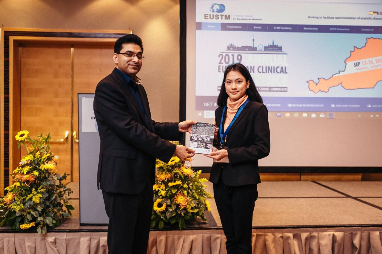 Congratulations to Miss Achinya Phuakrod for 1st Winner Poster Award from EUSTM 2019
