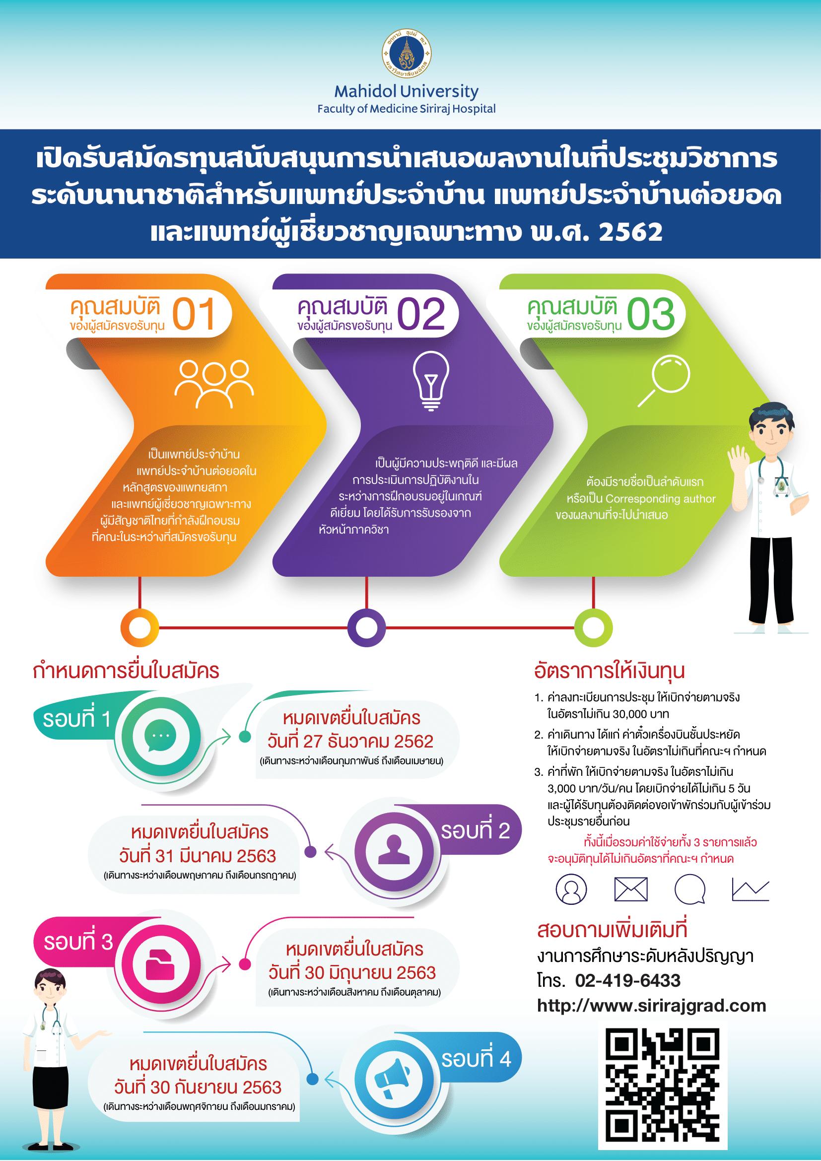 เปิดรับสมัครทุนสนับสนุนการนำเสนอผลงานในที่ประชุมวิชาการระดับนานาชาติ สำหรับแพทย์ประจำบ้าน แพทย์ประจำบ้านต่อยอด และแพทย์ผู้เชี่ยวชาญเฉพาะทาง พ.ศ. 2562