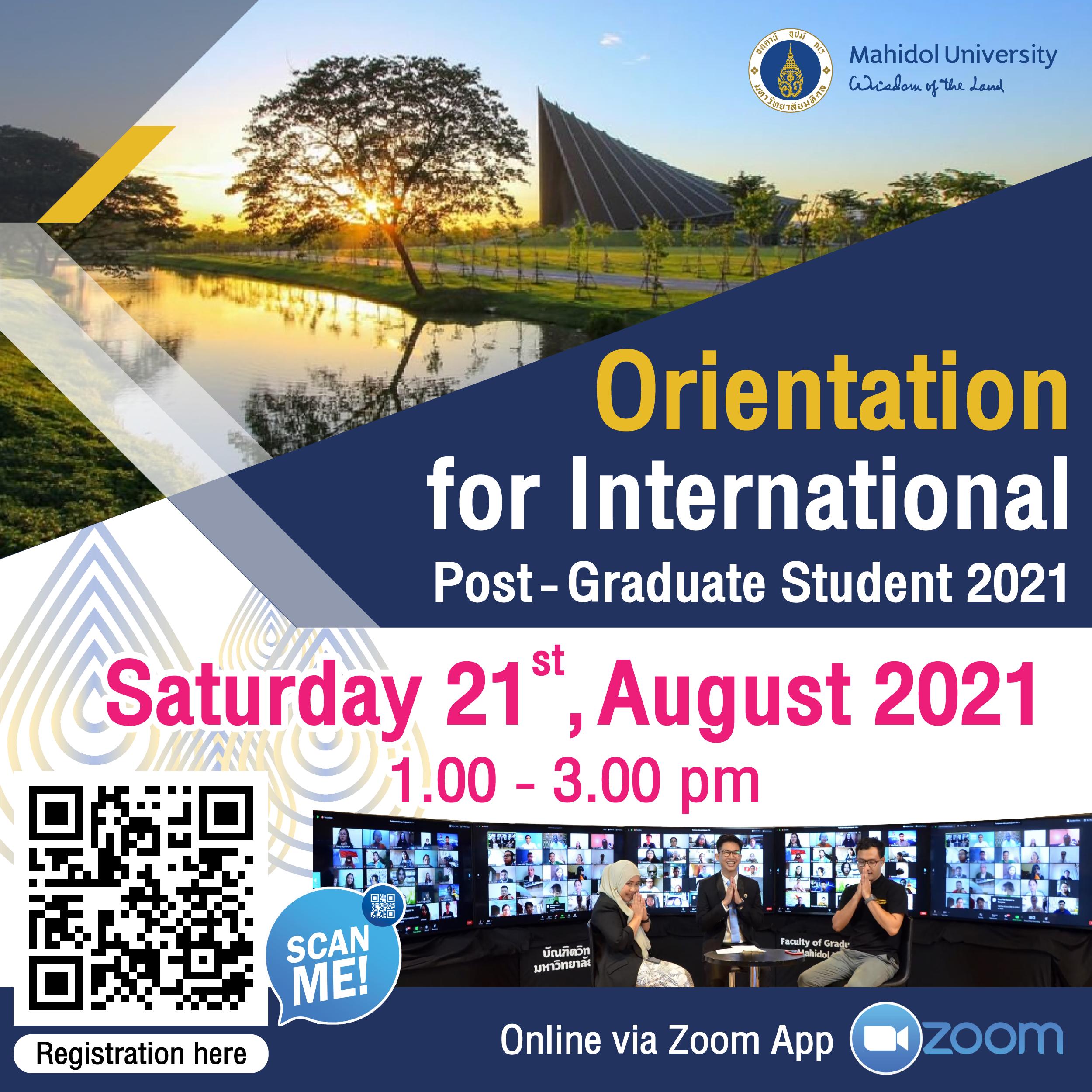 Orientation for International Post-Graduate Student 2021