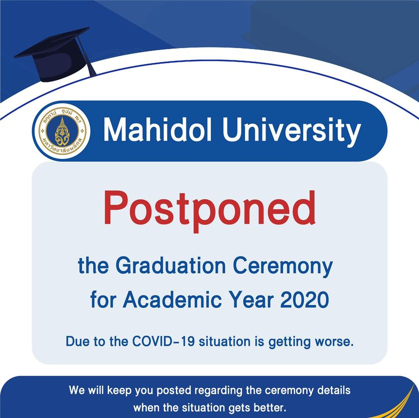 [Postponed] the Graduation Ceremony for Academic Year 2020